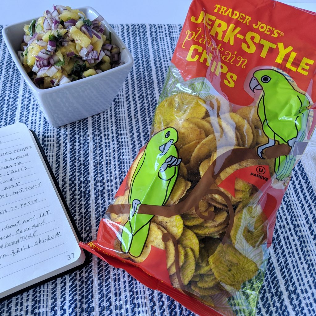 Pineapple salsa and Trader Joe's jerk-style plantain chips